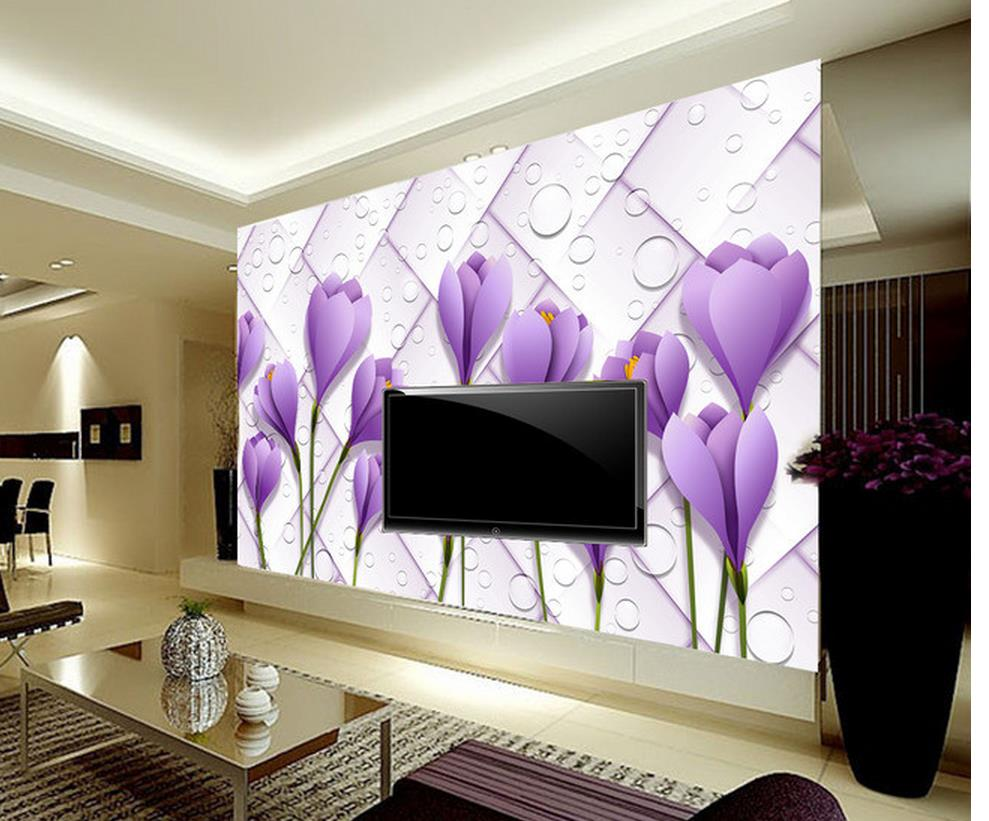 online get cheap paintings for living room wall 3d purple flowers