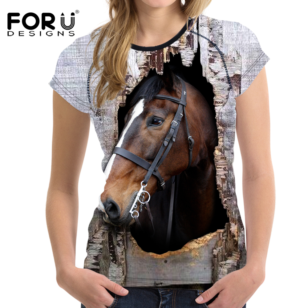 FORUDESIGNS 3D Crazy Horse Women T Shirt Sommar Casual Kvinna Kort Ärmlös T-shirt Animal Print Ladies Comfortable Tee Shirt