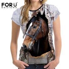 Forudesigns 3D Crazy Horse Для женщин футболка Летняя повседневная женская обувь короткий рукав футболки животное печати Дамы Удобная футболка