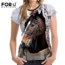 FORUDESIGNS 3D Crazy Horse Women T Shirt Summer Casual Female Short Sleeve Top Tees Animal Printing Ladies Comfortable Tee Shirt
