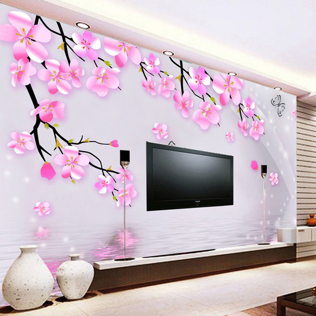 fototapete 3d stereo rosa blumen schmetterling wand wohnzimmer schlafzimmer romantische. Black Bedroom Furniture Sets. Home Design Ideas