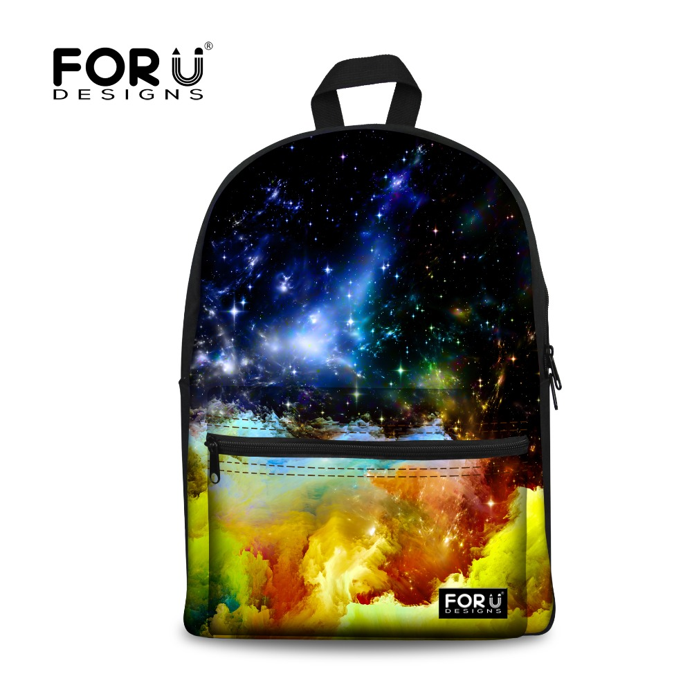 FORUDESIGNS Cool Galaxy Star Space Universe Schoolbag for Teenager Girls Boys High School Children Canvas Book Bags Mochila Kids