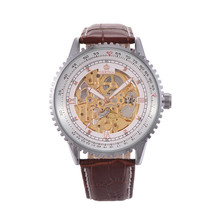 Orkina Марка Часы Из Нержавеющей Стали Кожа Скелет Механические Наручные Часы Sienna Бизнес Часы для Мужчин с Коробкой