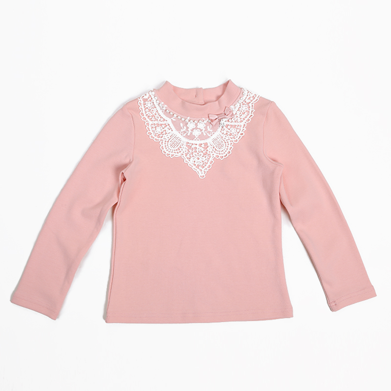 Princess Lace Neck Baby Girls Toddeler Long Sleeve T-Shirt Cotton Winter Casual Kids Girls Blouse