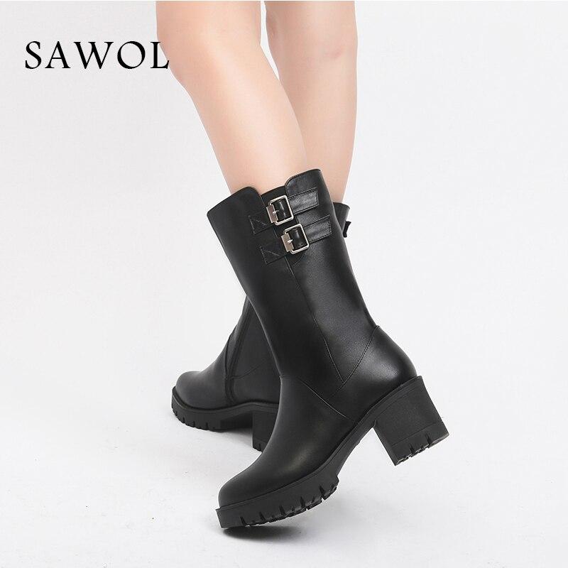 Chaussures mollet forme D'hiver Laine Sawol Marque Bottes Plate 42 Naturel En Avec Femmes Cuir 43 Véritable Wool Mi BqOIOv