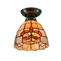 7 Inch Tiffany Lily Ceiling Light Stained Glass Shell Flush Mount Lamp Mediterranean Sea Indoor Lighting