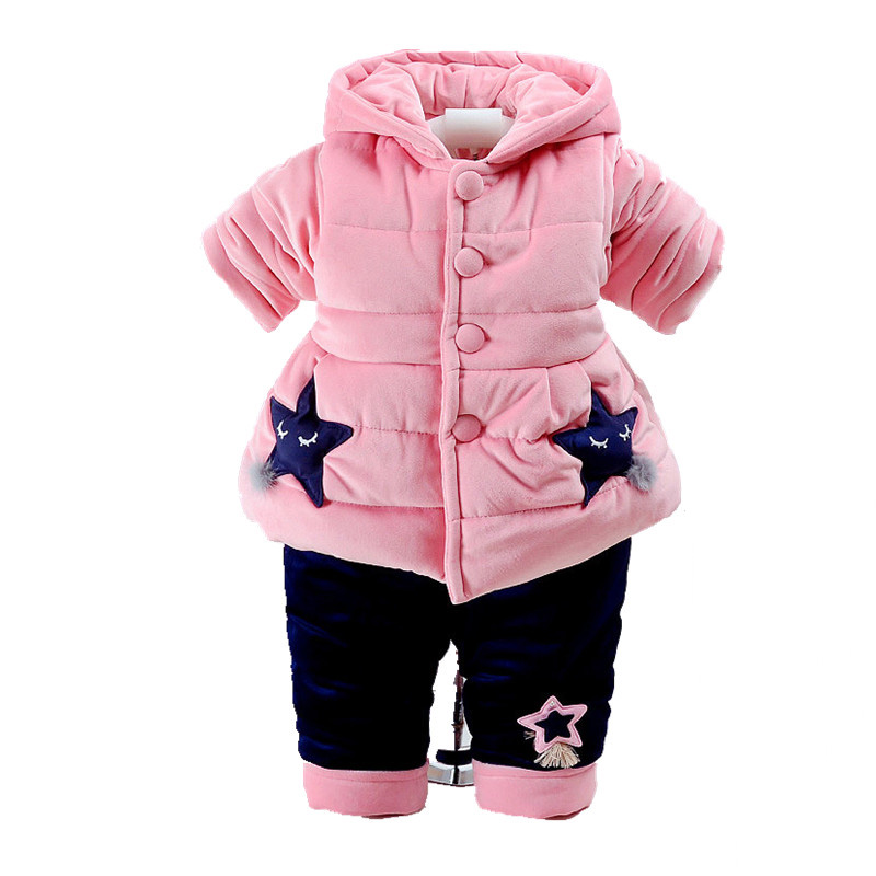 Baby Rompers Kids infant Winter Newborn Flannel Jumpsuit Pajamas Thickken Warm Boys Clothes Girls Hooded Coat Pant 2Pcs Set W142 puseky 2017 infant romper baby boys girls jumpsuit newborn bebe clothing hooded toddler baby clothes cute panda romper costumes