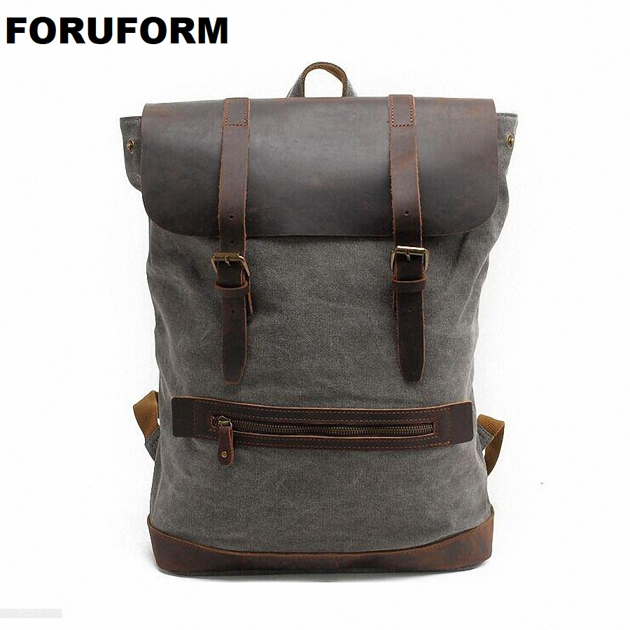 Rucksack Men's Canvas Backpack Leisure Travel Bag Casual Backpack Vintage Fashion Men's Laptop Backpacks School Bags LI-1380 new vintage backpack canvas men shoulder bags leisure travel school bag unisex laptop backpacks men backpack mochilas armygreen
