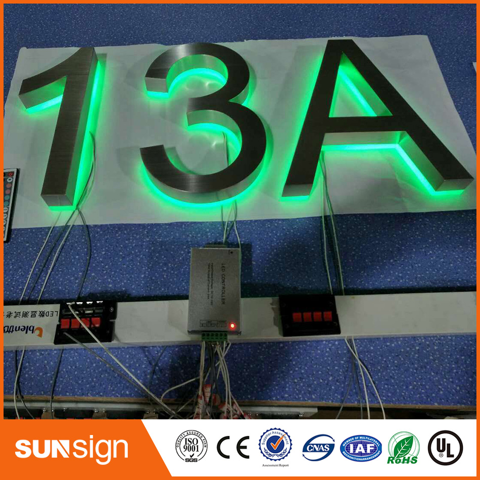 Brushed Stainless Steel Colors Change RGB Backlit Numbers And Letters