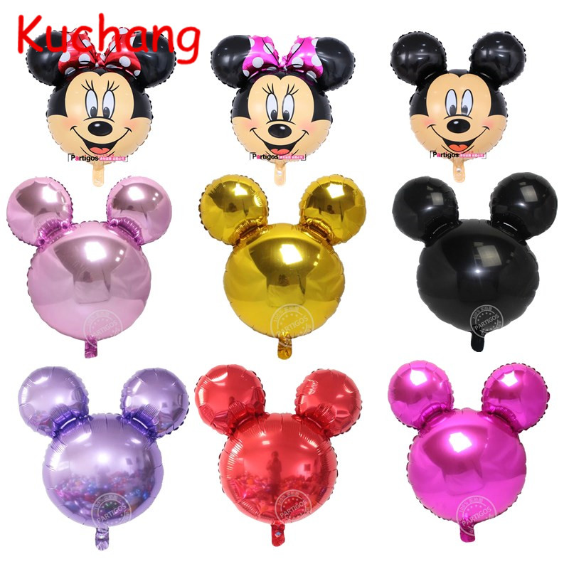 10PCS 70*65CM Pure Mickey Minnie Head Balloons Childrens Gift Birthday Party Minnie Mickey Helium Air Foil Globos Decor Supplie