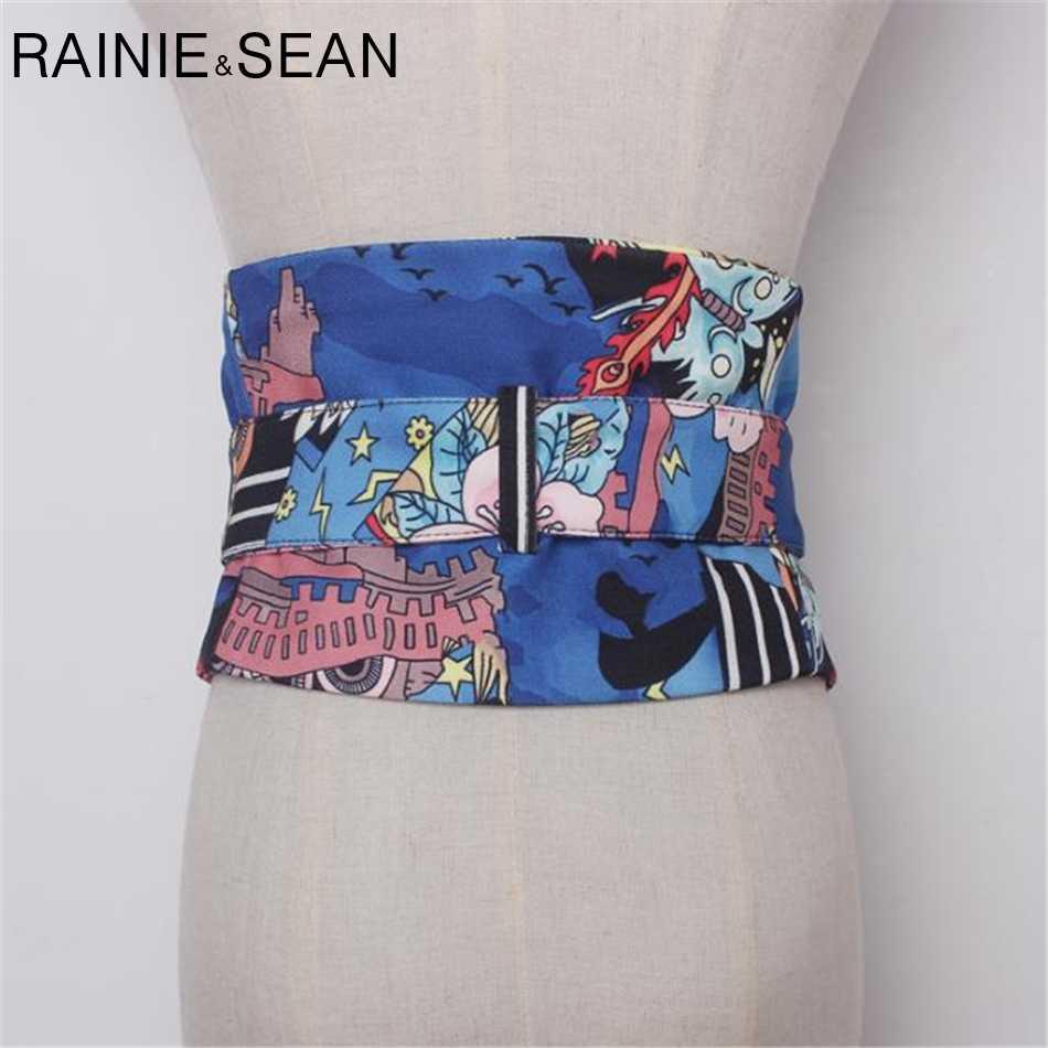RAINIE SEAN Экстра Широкий пояс пояса для женщин пояс для джинсов принт Поддерживающий Пояс-корсет булавка пряжка Синий платье ремни обертывание