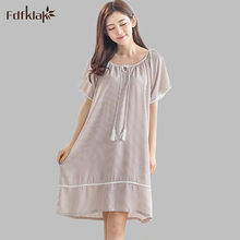 bf0bc0be9c Women nightgown cotton fiber sleepwear summer dress casual loose ladies  nightshirts short sleeve nightdress female A709
