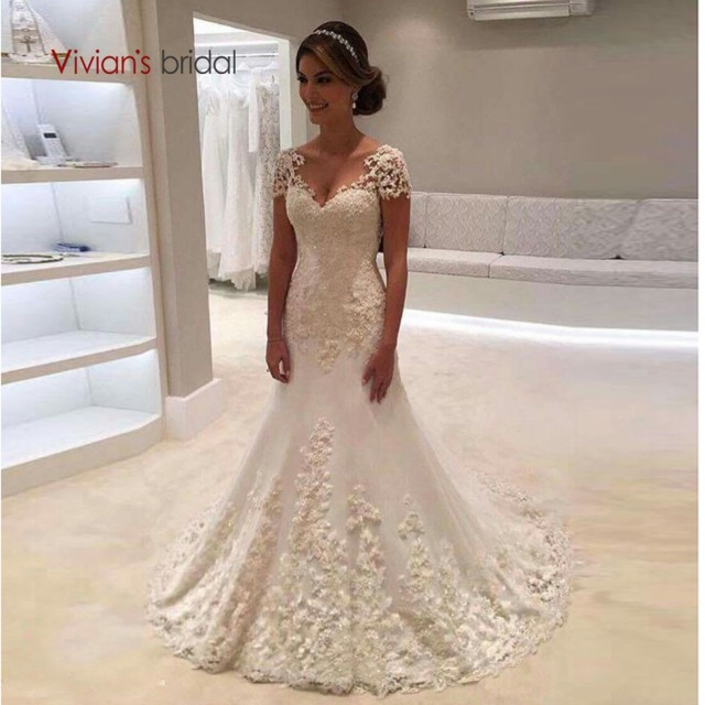 4785c5fda6a2 Vivian's Bridal 2018 Backless Cap Sleeve Mermaid Wedding Dress Lace  Appliques Floor-length Court Train Customized Bridal Gown