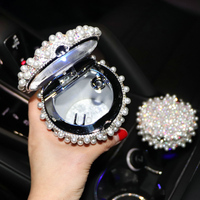 With LED Light Rhinestone Pearl Ashtray In Cup Holder Black & Silver Color For All Car