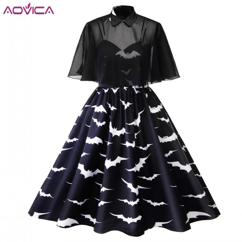 4XL 3XL Plus Size Halloween Bat Print Gothic Dress Women Punk Party ...