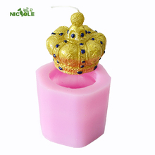 3D Crown Silicone Soap Candle Mold Flexible Craft Handmade Resin Clay Decorating Mould