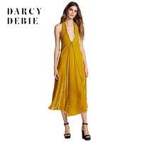 Darcydebie מותג נשים קטיפה צהובה תחרה עד בחזרה אלגנטי עמוק צווארון V שרוולים שמלות מסיבת מועדון Vestidos ליידי