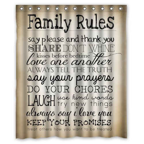CHARMHOME Fashion Custom Home Decor Family Rules Educational Waterproof  Polyester Bathroom Shower Curtain(China (