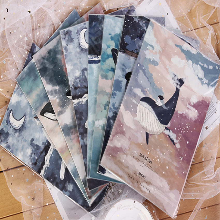 1Pack/lot Kawaii Floating Forest Sea Elves 3 Envelopes + 6 Sheets Letter Paper Set For Gift School Office Supplies