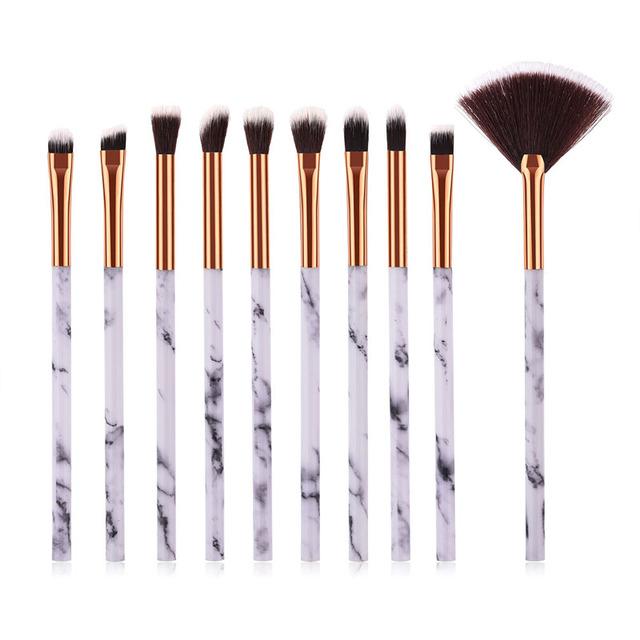 10pcsPromotions marbling texture brushes face foundation powder eyeshadow kabuki eye blending cosmetic marble makeup brush tool 3