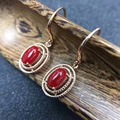 Bela red coral brincos pendurados 5mm * 7mm natural preciouse coral brincos de prata 925 esterlina sólida prata coral jóias