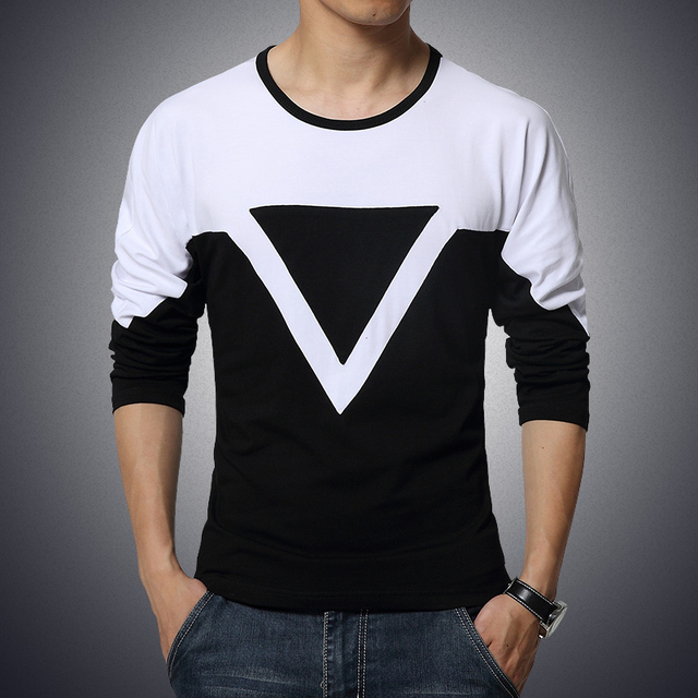 2017 Autumn Men's New O-Neck Long Sleeve T Shirts Fashion Casual Slim Triangle Spell Color T-shirt Plus Size