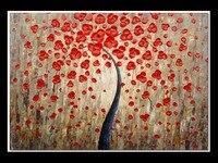 수제 추상 벽 아트 장식 서예 아크릴 그림 손 페인트 빨간색 돈 트리 팔레트 나이프 유화