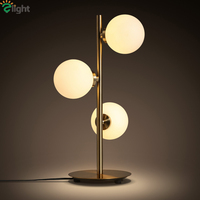 Milan Minimalism Brush Brass 3 Light Table Lamp Brush Brass Dia10cm Frosted Glass Ball Free 3W G4 Led Table Lamp