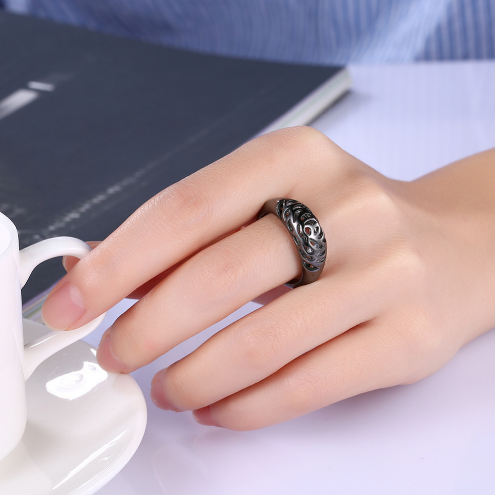 Black Gold Filled Gypsy Setting White Cubic Zirconia Rings For Men ...