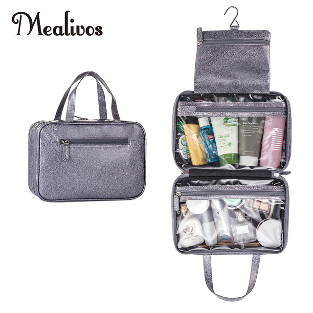 eae31f09a5f4 MyMealivos Grey Glitter Versatile Travel Cosmetic Bag - Perfect Hanging  Travel Toiletry Organizer