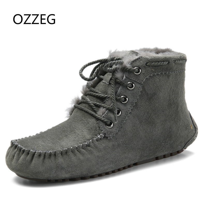 Classic Women Winter Boots Genuine Leather Snow Boots Female Warm Real Fur Plush Insole High Quality Botas Mujer Lace-Up Shoes de la chance winter women boots high quality female genuine leather boots work