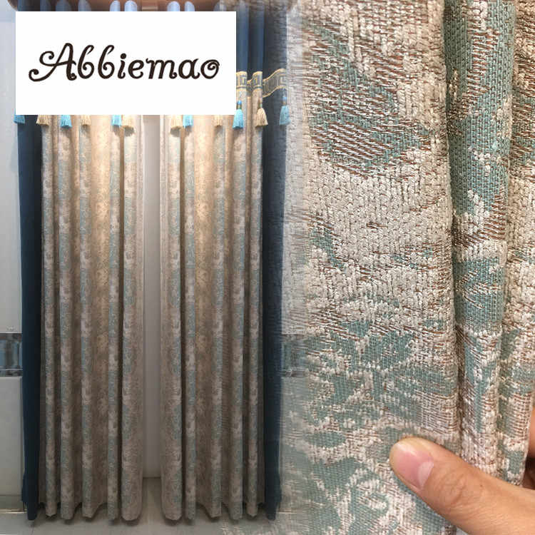 Abbiemao European Style Splicing Jacquard Curtain Thick Chenille Curtain For Living Room Bedroom Decorative Window Treatments