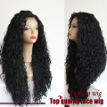 Top Quality 200%Density Brazilian Fiber Curly Wig With Baby Hair Black Synthetic Lace Front Wigs Heat Resistant For Black Women