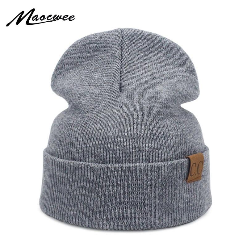 a86b6282691 Men Women Winter CC Logo Hats Beanie Solid Unisex Warm Soft Women s Knitted Touca  Gorro Ski Caps Skullies Beanies Bone 2018 New
