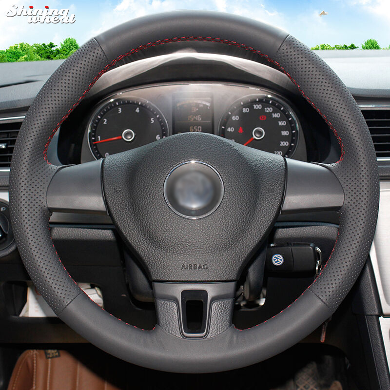 Shining wheat Hand-stitched Black Leather Car Steering Wheel Cover for Volkswagen VW Tiguan Lavida Passat B7 Jetta Mk6 цена 2017