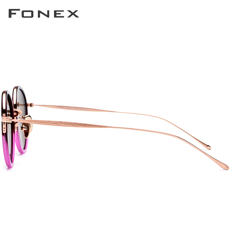 FONEX Titanium Acetate Polarized Sunglasses Women New Fashion Vintage Round Sunglass Men Retro Mirrored Sun Glasses Oculos 853
