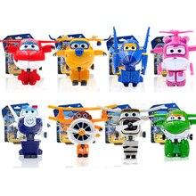 8 unids/set alas súper figura de acción juguetes Mini avión Robot Superwings transformación historieta del Anime juguetes para los niños de los muchachos regalo