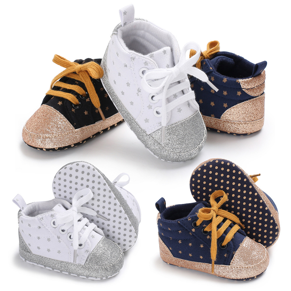 Hot sale Sequin Star Infant Canvas baby shoes Soft moccasins sneakers Toddler first walkers Girls boys lace-up Casual Sport shoe