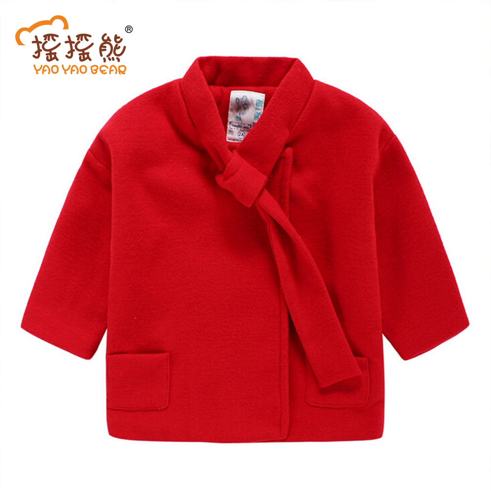 Fashion Girls Wool Coat Children Autumn Winter Jackets Candy Color Children Wool Coats Kids Clothes Girls Outwear 2017 girls children hoodies winter wool