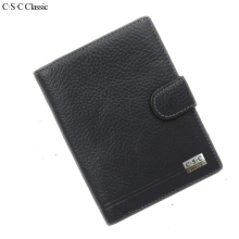 C.S.C Classic Men Wallet Genius Leather Portfolio Brand Designers Male Clutch Passcard Money Pocket Large Capacity Coin Purses