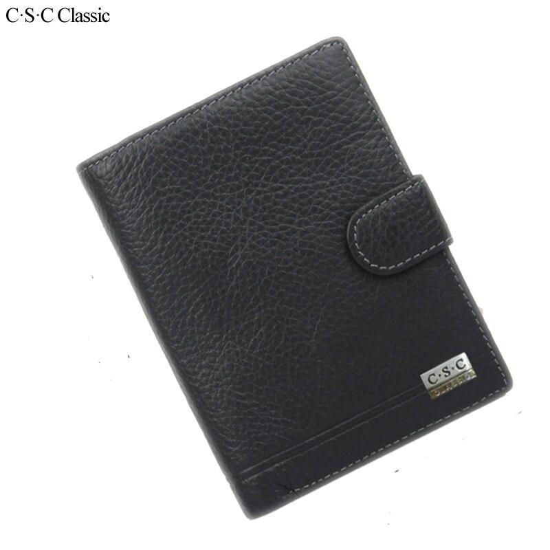 C.S.C Classic Men Wallet Genius Leather Portfolio Brand Designers Male Clutch Passcard Money Pocket Large Capacity Coin Purses