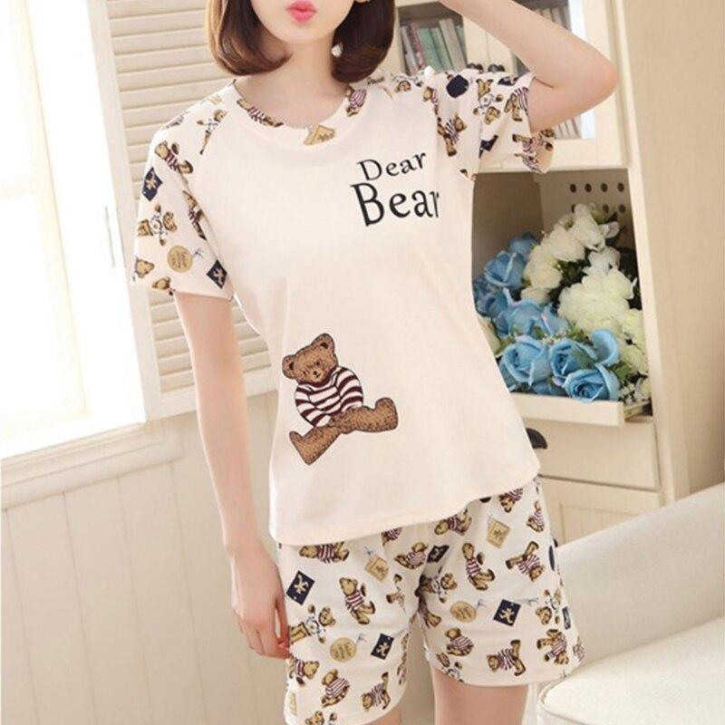 Women Cartoon Pajamas Short Sleeve Cotton Pyjamas Set Home Nightwear Пижама