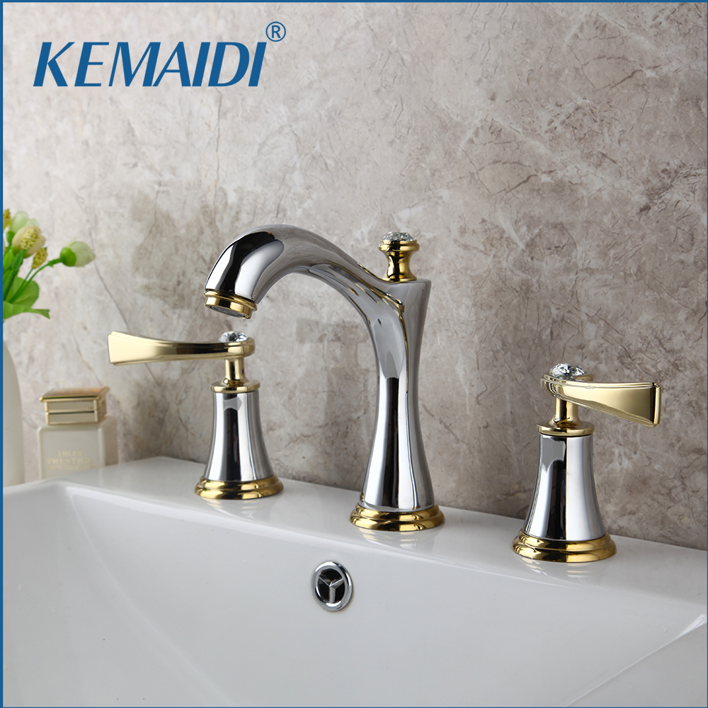 KEMAIDI Chrome Brass Bathroom 3 Pcs Faucet Set Deck Mounted Stream 2 Handles Diamond Bathroom Bathtub Basin Sink Mixer Tap