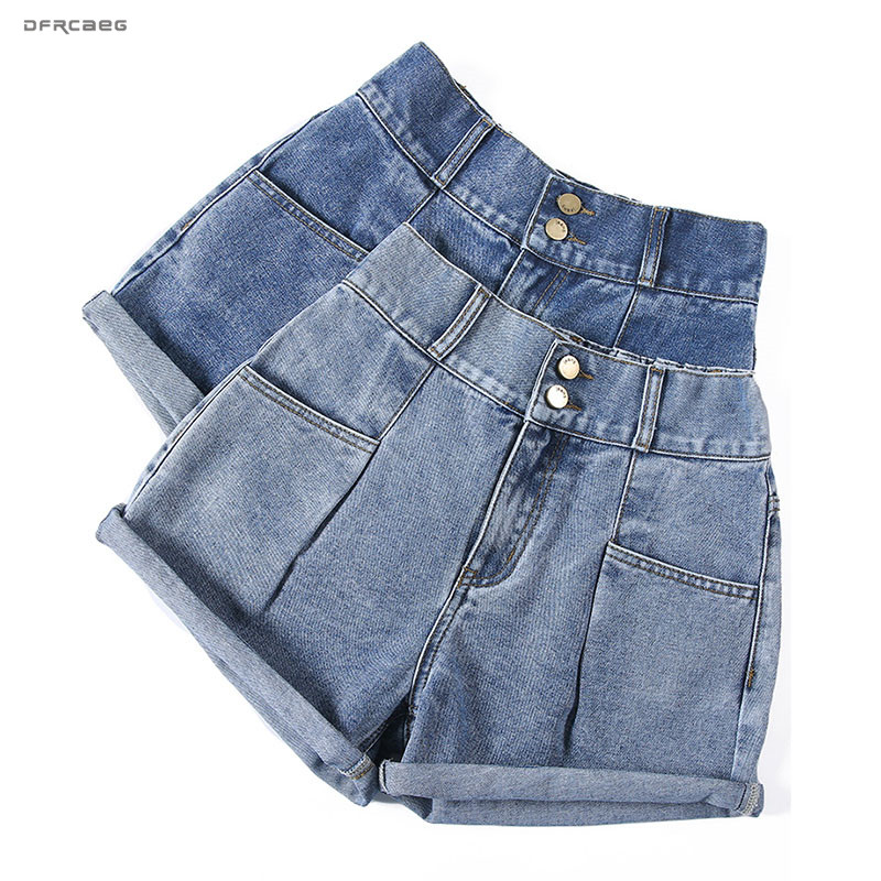 High Elastic Waist Plus Size Jeans   Shorts   Women 2019 Summer Fashion Streetwear Crimping Denim   Short   Jeans With Pocket Femme
