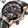 Новые модные мужские часы LIGE Топ бренд класса люкс автоматические механические часы повседневные спортивные водонепроницаемые мужские на...