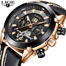 جديد LIGE ساعة الموضة الرجال العلامة التجارية الفاخرة التلقائي ساعة ميكانيكية عادية الرياضة مقاوم للماء الرجال الساعات Relogio Masculino + صندوق