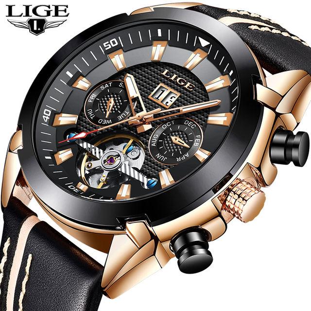 New LIGE Fashion Watch Men Top Brand Luxury Automatic Mechanical Watch Casual Sport Waterproof Men Watches Relogio Masculino+Box