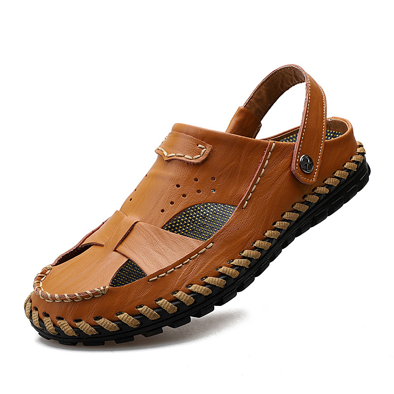 a1b0a9c6ccdd Men Summer Hollow Out Sandals Male Soft Leather Outdoor Casual Shoes ...