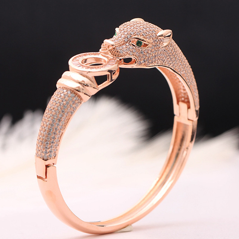 Image 3 - Blucome Luxury Brand leopard Animal Bangle for Men Accessories Perfect Cubic Zirconia Wedding Jewelry Women Bracelet&bangles-in Cuff Bracelets from Jewelry & Accessories