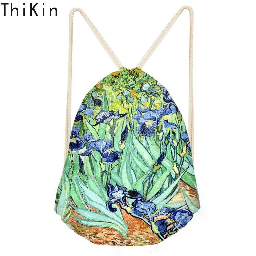 THIKIN Women's Drawstring Bag Van Gogh Oil Art Painting Kids Girls Mini Storage Swim Sack Bags Females Shopping String Pouch